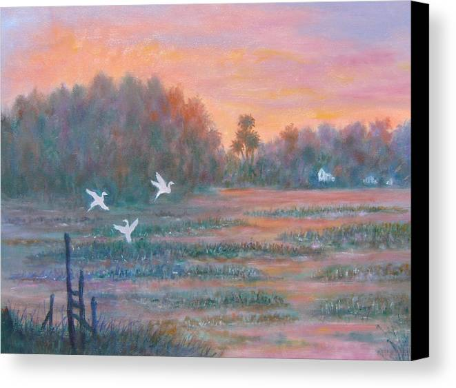 Low Country; Egrets; Sunset Canvas Print featuring the painting Pawleys Island by Ben Kiger