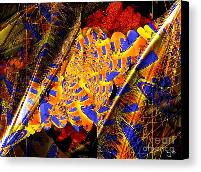 Peacock Canvas Print featuring the digital art Peacock Parts by Ron Bissett