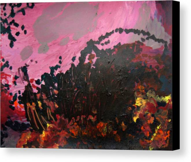 Abstract Canvas Print featuring the painting Pink Bliss by Kitty Hansen