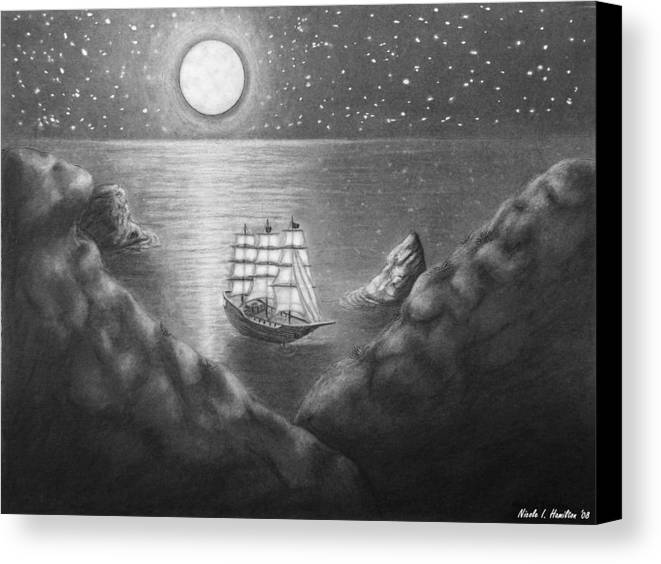 Ship Canvas Print featuring the drawing Pirates' Cove by Nicole I Hamilton