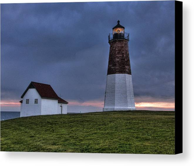 Lighthouse Canvas Print featuring the photograph Point Judith Lighthouse by Michael Edwards