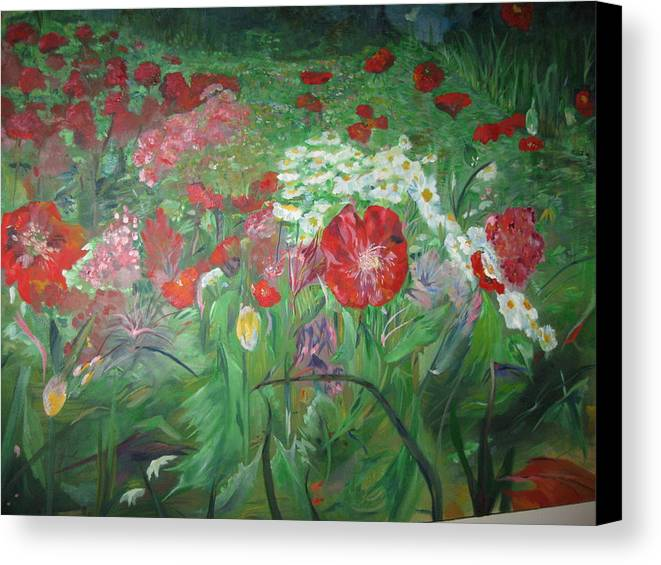 Landscape Canvas Print featuring the painting Poppies by Impressionist FineArtist Tucker Demps Collection