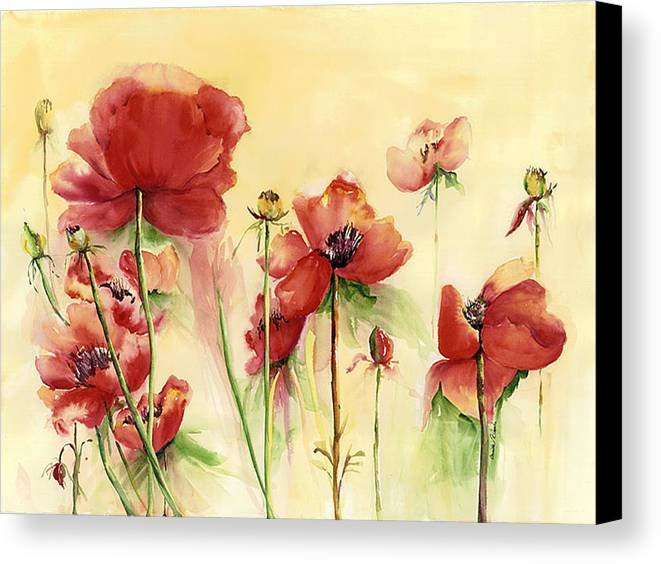 Flowers Canvas Print featuring the painting Poppies On Parade by Priscilla Powers