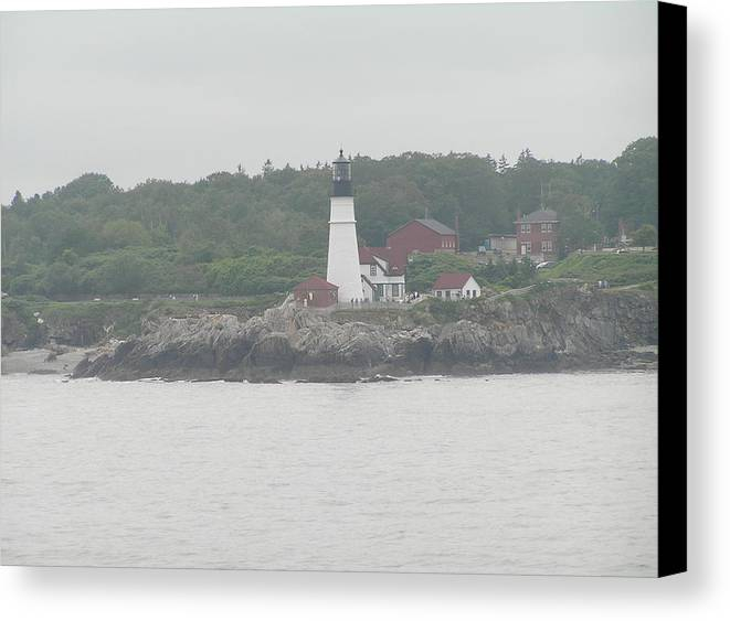 Landscape Canvas Print featuring the photograph Portland Head Light 4 by Sandra Bourret