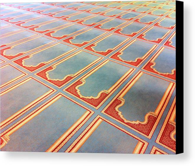 Horizontal Canvas Print featuring the photograph Prayer Mats Printed On Mosque Carpet by Jill Tindall