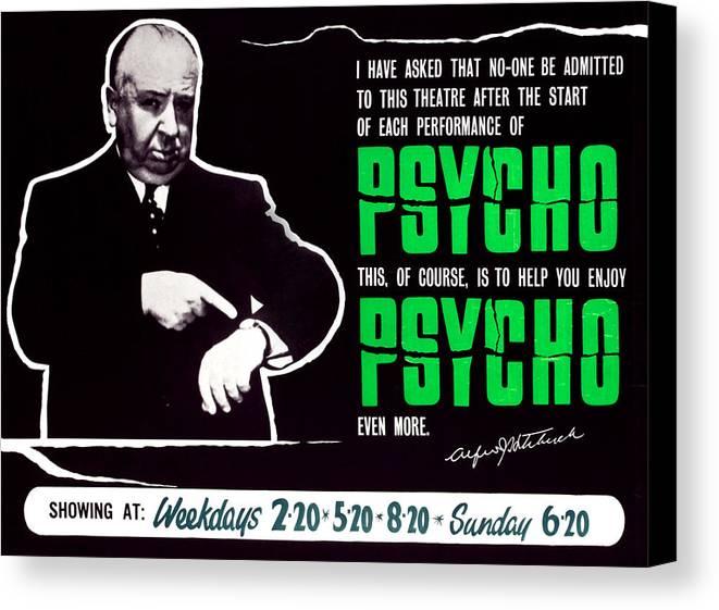 1960 Movies Canvas Print featuring the photograph Psycho, Director Alfred Hitchcock by Everett