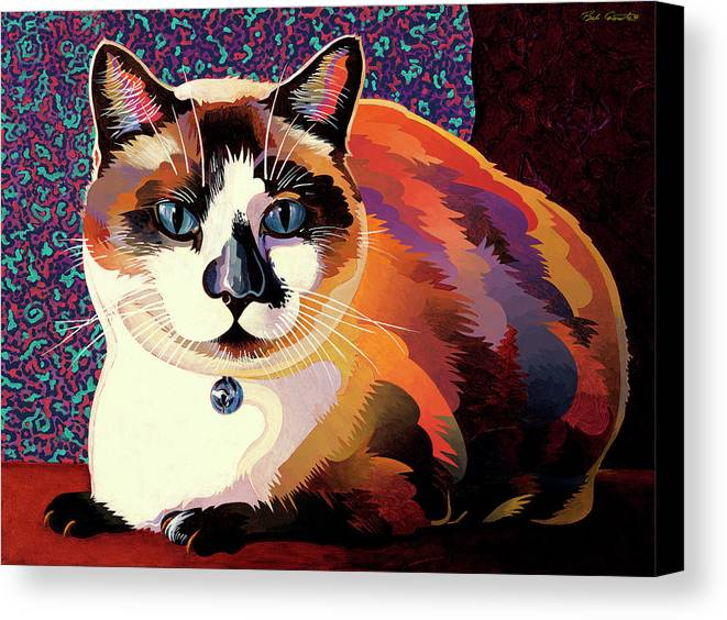 Cat Paintings Canvas Print featuring the painting Puddin by Bob Coonts