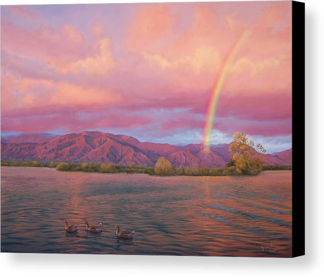 Lake Canvas Print featuring the painting Rainbow At Sunset by Johanna Girard