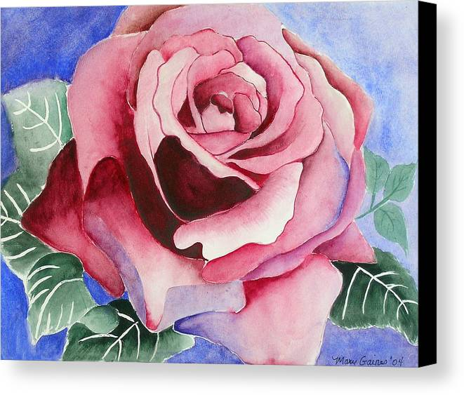Pink Rose Canvas Print featuring the painting Ramblin' Rose by Mary Gaines