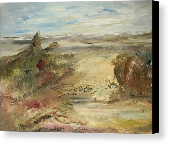 Landscape Canvas Print featuring the painting Ranch At The Pass by Edward Wolverton