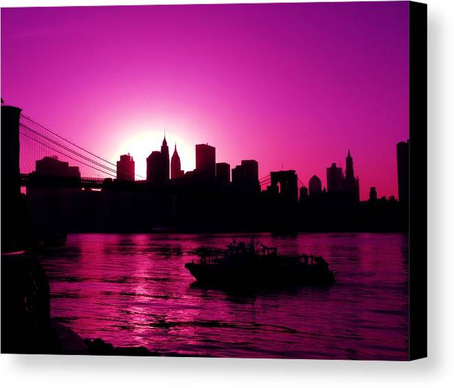 Brooklyn-bridge Canvas Print featuring the photograph Raspberry Ice In Silhouette by Kendall Eutemey