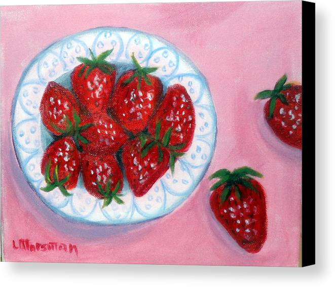 Red Canvas Print featuring the painting Red And Juicy by Lia Marsman