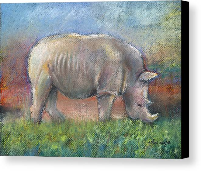 Rhino Canvas Print featuring the pastel Rhino by Arline Wagner