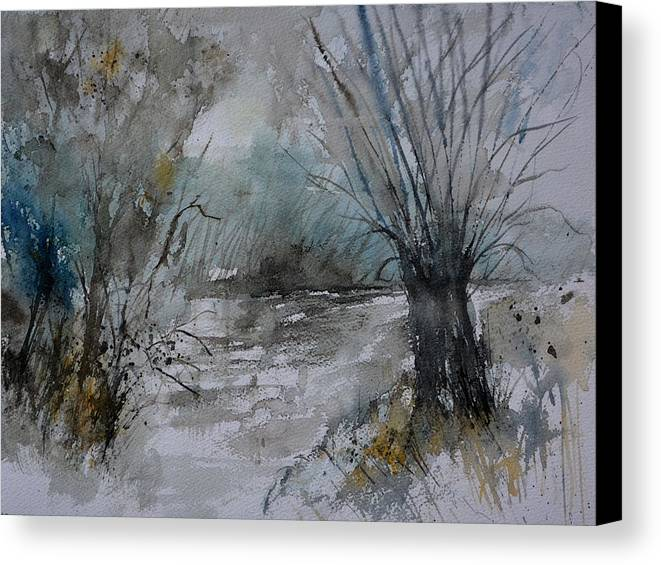 Landscape Canvas Print featuring the painting River Watercolor 711082 by Pol Ledent