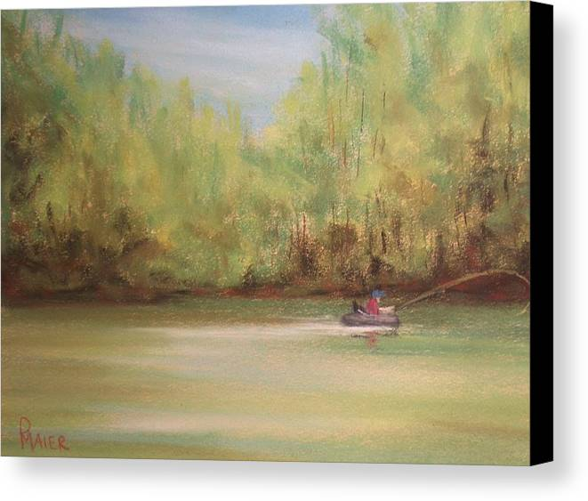 Fishing Canvas Print featuring the painting Rivergreen by Pete Maier