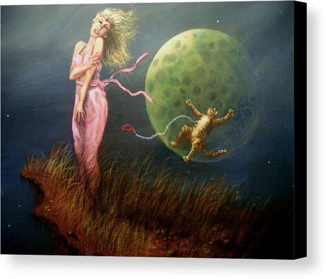 Fantasy Canvas Print featuring the painting Rocket Kitty And Other Tales by Tom Shropshire