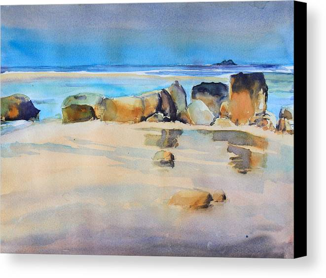 Rocky Shore Canvas Print featuring the painting Rocky Shore by Ibolya Taligas