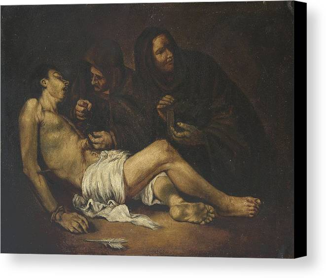 Religion Canvas Print featuring the painting San Sebastian by Unknown