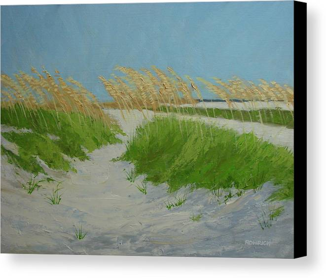 Ocean Dunes Canvas Print featuring the painting Sand Dunes No 1 by Robert Rohrich