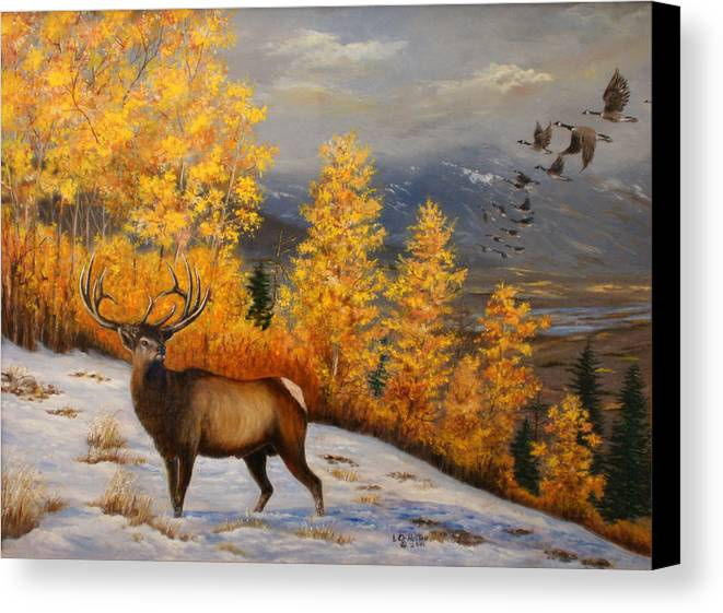 Wildlife Canvas Print featuring the painting Selkirk Elk by Lucille Owen-Huston