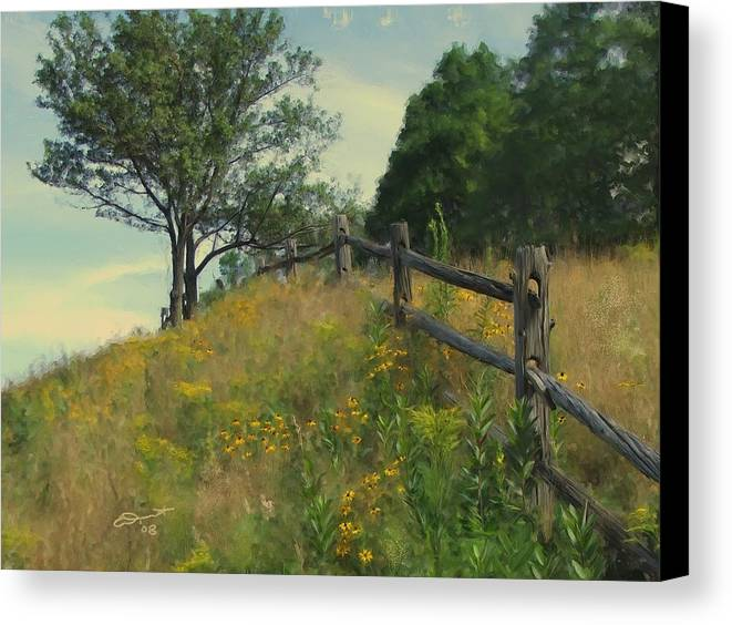 Country Rural Fence Vermont Flower Summer Painting Rail Tree Hill Goldenrod Shade Wild Sargent Oil Canvas Print featuring the painting Shade Tree by Eddie Durrett