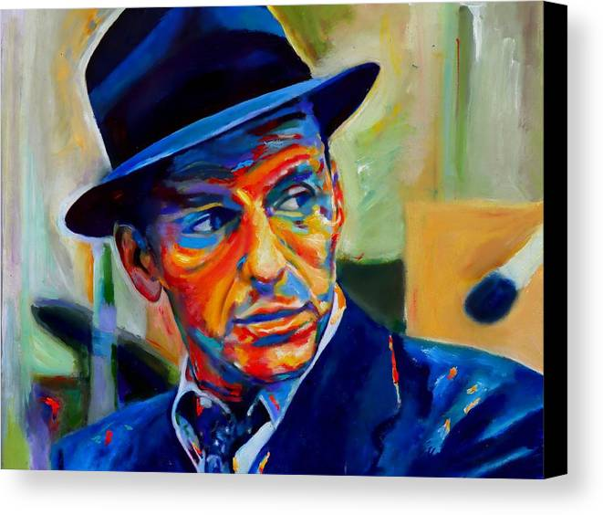 Traditional Pop Canvas Print featuring the painting Sinatra by Vel Verrept