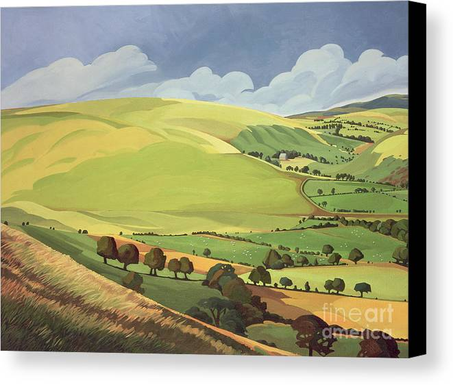 Welsh Landscape; Field; Fields; Country; Countryside; Rural; Rolling Hills; Valleys; Hill; Tree; Trees; Grass; Green; Sky; Landscape Canvas Print featuring the painting Small Green Valley by Anna Teasdale