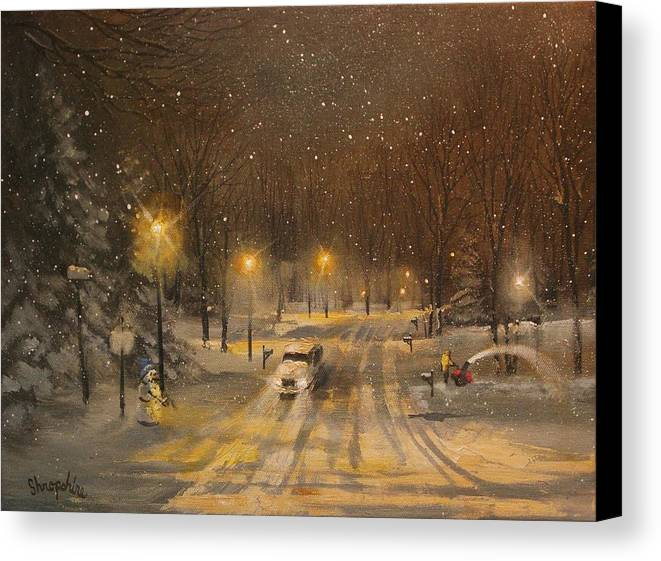 Christmas Lights Canvas Print featuring the painting Snow For Christmas by Tom Shropshire