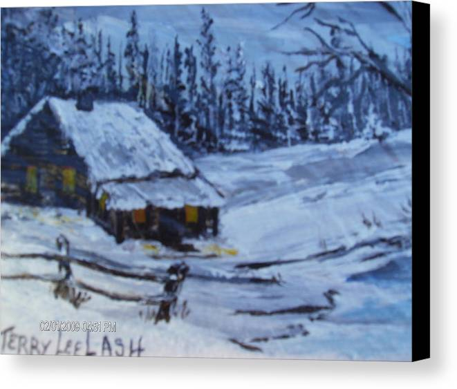 Snow Canvas Print featuring the painting Snow Portrait by Terry Lash