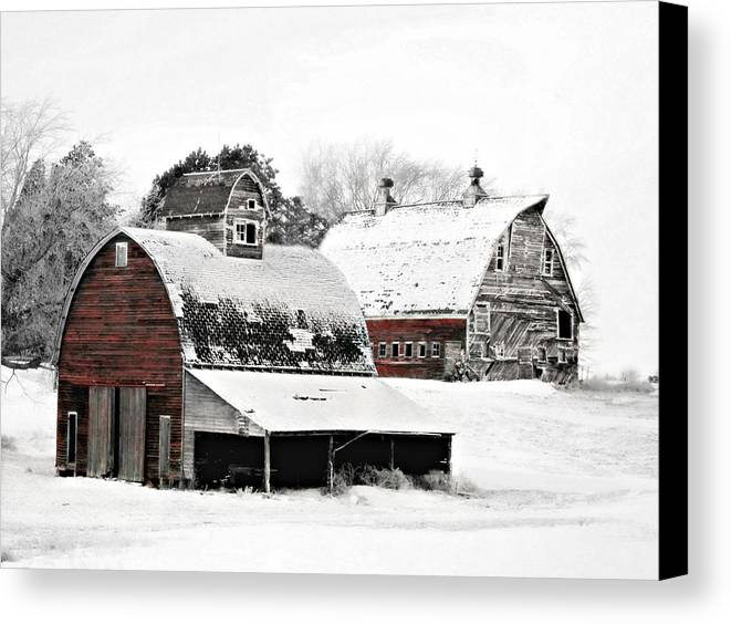 Christmas Canvas Print featuring the photograph South Dakota Farm by Julie Hamilton