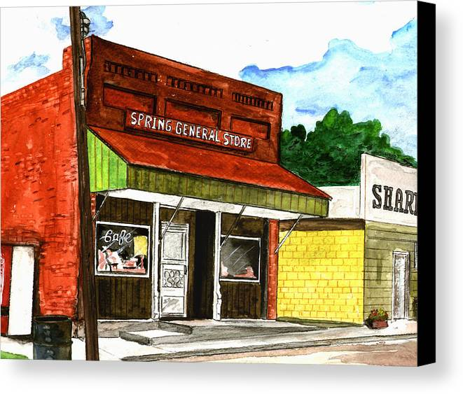 Kevin Callahan Canvas Print featuring the painting Spring General Store Sharpsburgh Iowa by Kevin Callahan