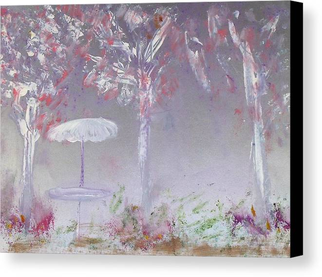 Abstract Canvas Print featuring the painting Spring On The Patio by Michela Akers