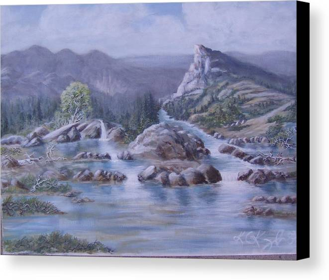 Landscape Canvas Print featuring the painting Spring Runoff by KC Knight