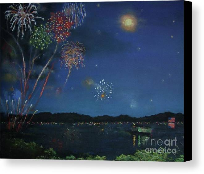 4th Of July Canvas Print featuring the pastel Starry Night At Crooked Creek Marina by Jackie Hill