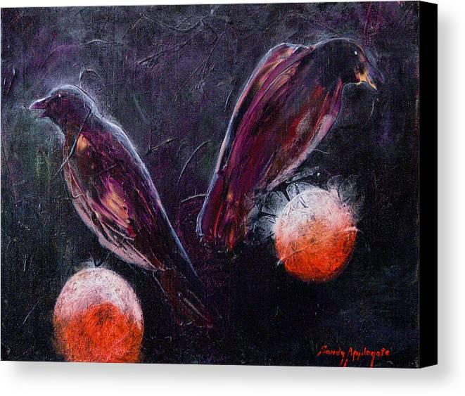 Raven Canvas Print featuring the painting Still Is Sitting by Sandy Applegate