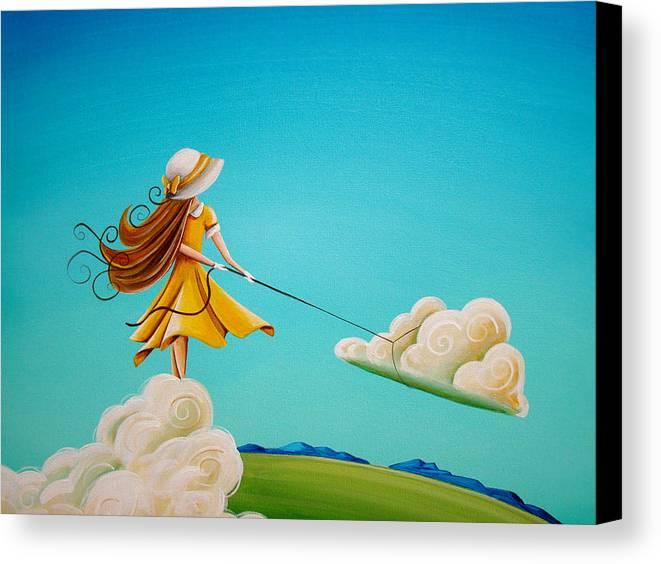 Girl Canvas Print featuring the painting Storm Development by Cindy Thornton