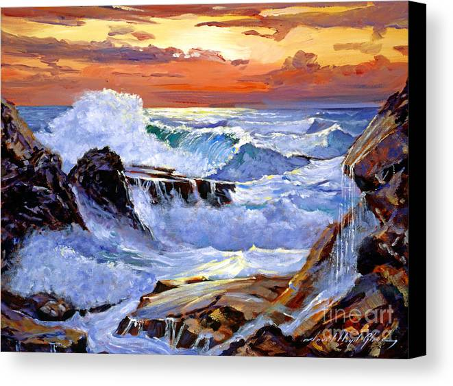 Waves Canvas Print featuring the painting Storm On The Irish Coast by David Lloyd Glover