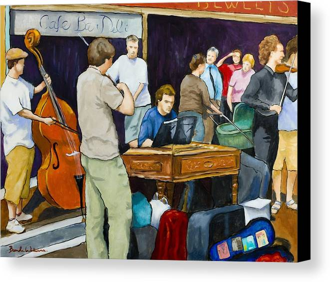 Figurative Canvas Print featuring the painting Street Musicians In Dublin by Brenda Williams