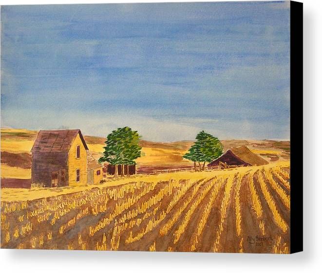 Farm Canvas Print featuring the painting Summer Farm by Ally Benbrook