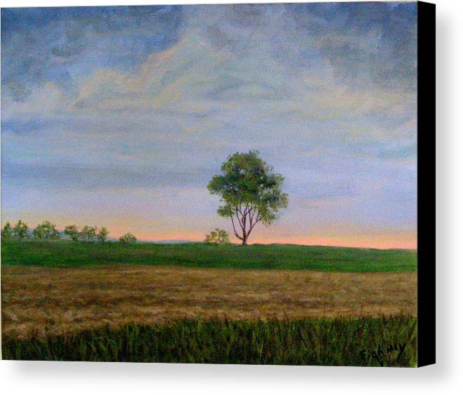 Landscape Canvas Print featuring the painting Summer Storm by Evelynn Eighmey