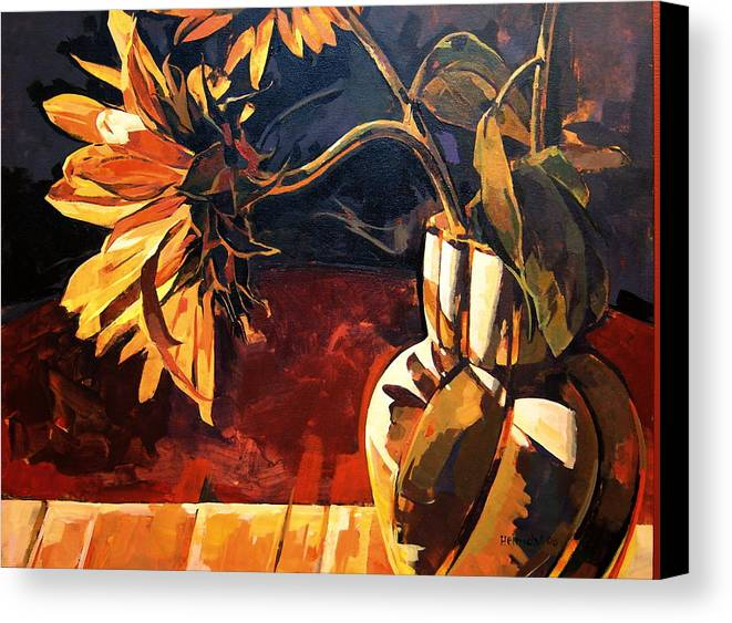 Canadian Canvas Print featuring the painting Sunflowers In Italian Vase by Tim Heimdal