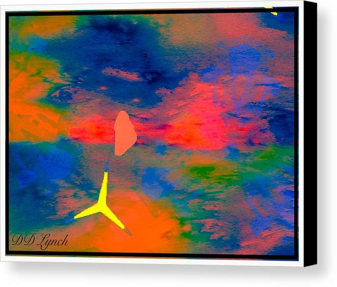 Abstract Canvas Print featuring the mixed media Sunset Abstract With Windmill by Debra Lynch