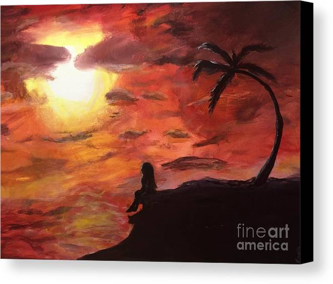 Sunset Canvas Print featuring the painting Sunset by Kimmi Sandhu