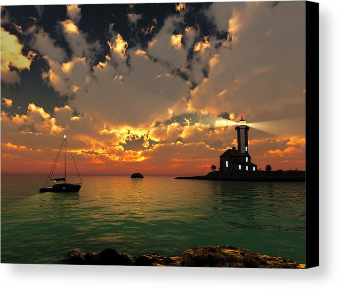 Jim Coe Canvas Print featuring the digital art Sunset Lighthouse by Jim Coe