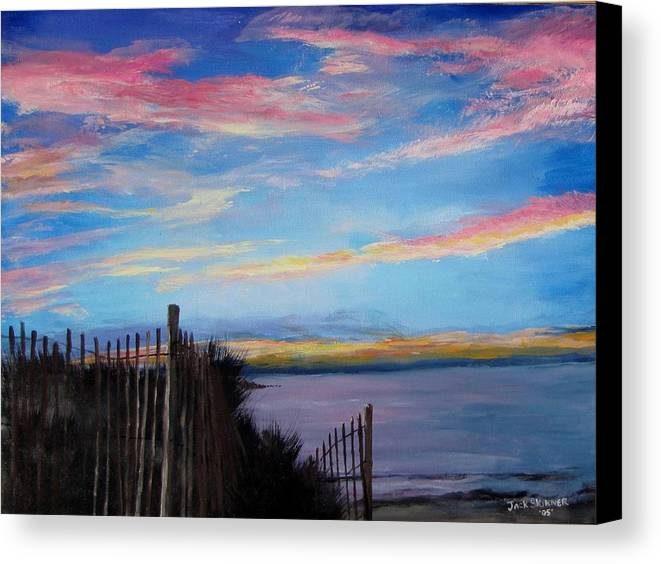 Sunset Canvas Print featuring the painting Sunset On Cape Cod Bay by Jack Skinner