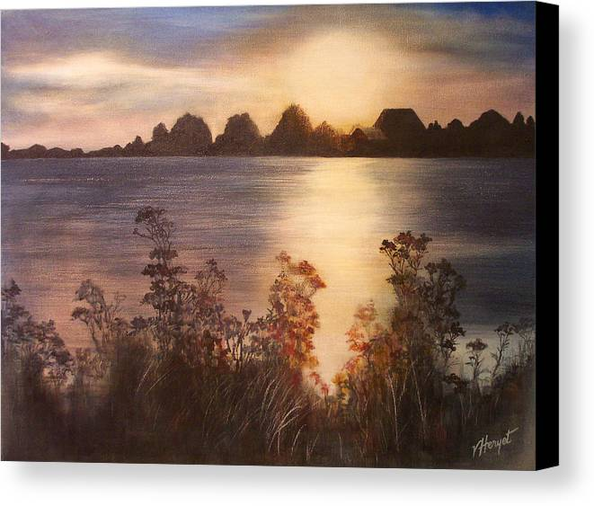 Sunset Canvas Print featuring the painting Sunset Over Westham Island by Victoria Heryet