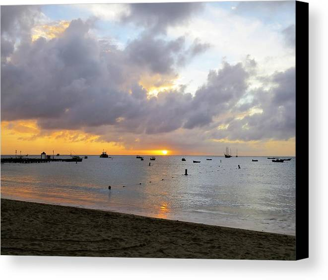 Sunset Canvas Print featuring the photograph Sunset by Sandra Bourret