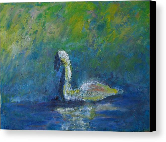 Impressionism Canvas Print featuring the painting Swan by Lou Ewers