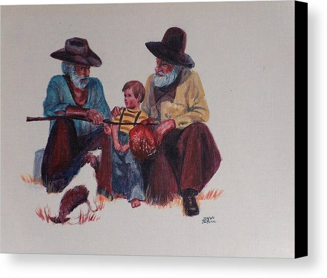 Cowboy Canvas Print featuring the painting Tall Tails by Sylvia Stone