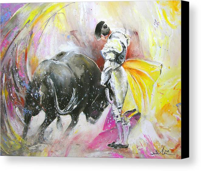 Animals Canvas Print featuring the painting Taurean Power by Miki De Goodaboom